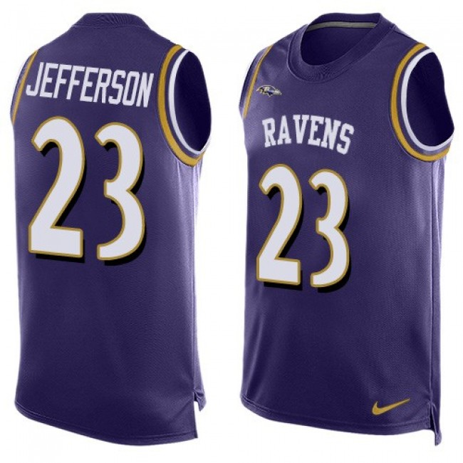 Nike Ravens #23 Tony Jefferson Purple Team Color Men's Stitched NFL Limited Tank Top Jersey