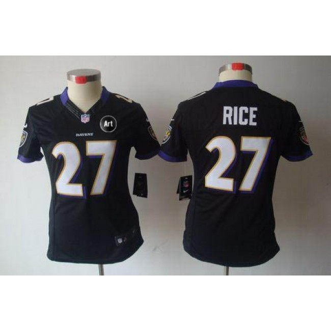 Women's Ravens #27 Ray Rice Black Alternate With Art Patch Stitched NFL Limited Jersey