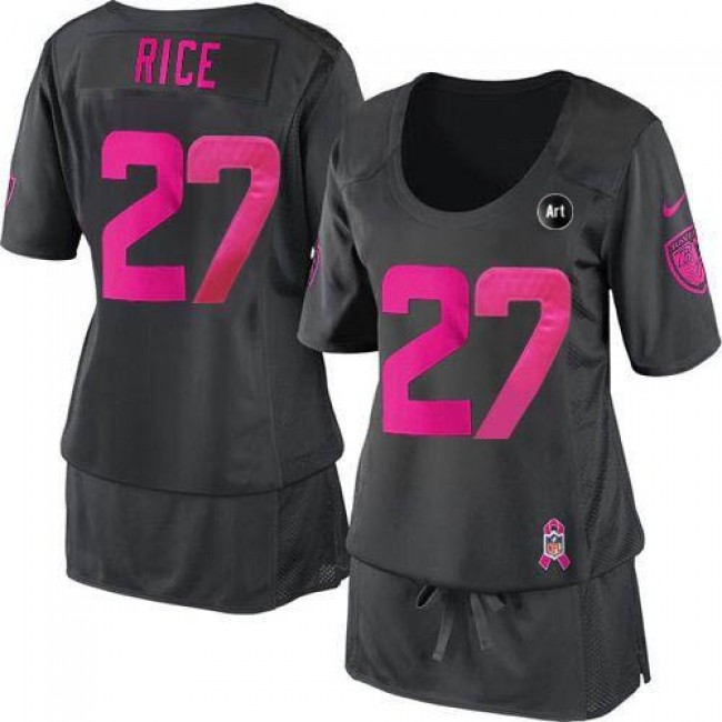 Women's Ravens #27 Ray Rice Dark Grey With Art Patch Breast Cancer Awareness Stitched NFL Elite Jersey