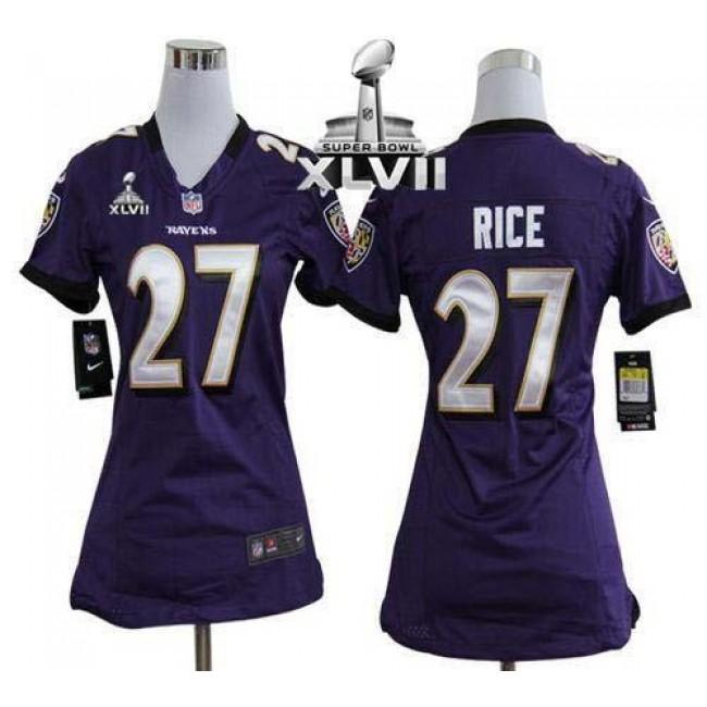 Women's Ravens #27 Ray Rice Purple Team Color Super Bowl XLVII Stitched NFL Elite Jersey