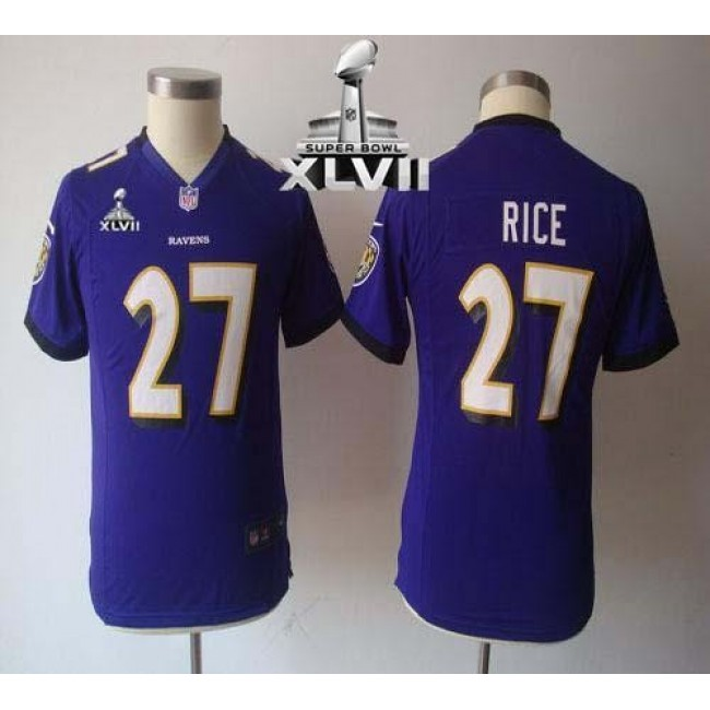 Baltimore Ravens #27 Ray Rice Purple Team Color Super Bowl XLVII Youth NFL Game Jersey