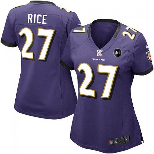 Women's Ravens #27 Ray Rice Purple Team Color With Art Patch NFL Game Jersey