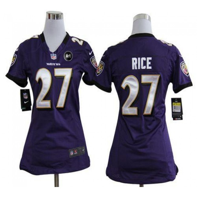 Women's Ravens #27 Ray Rice Purple Team Color With Art Patch Stitched NFL Elite Jersey