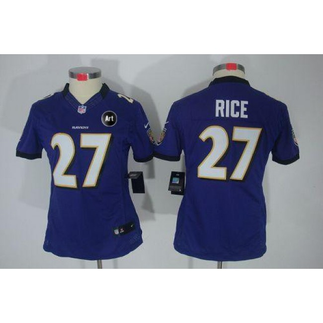 Women's Ravens #27 Ray Rice Purple Team Color With Art Patch Stitched NFL Limited Jersey