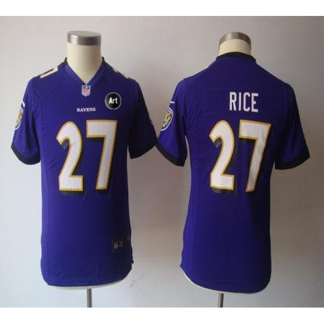 Baltimore Ravens #27 Ray Rice Purple Team Color With Art Patch Youth NFL Game Jersey