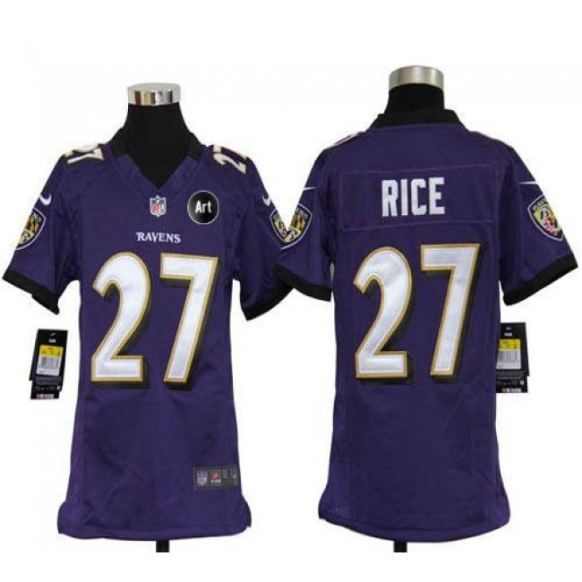 Baltimore Ravens #27 Ray Rice Purple Team Color With Art Patch Youth Stitched NFL Elite Jersey