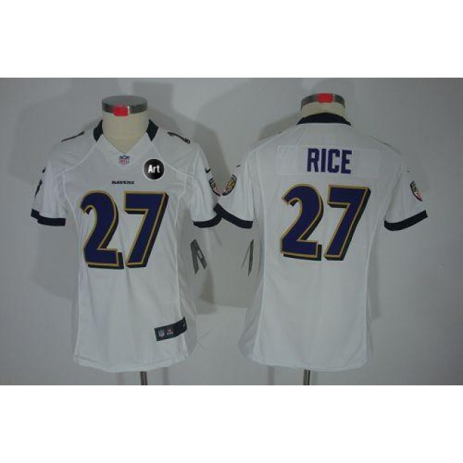 Women's Ravens #27 Ray Rice White With Art Patch Stitched NFL Limited Jersey