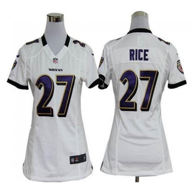 Women's Ravens #27 Ray Rice White Stitched NFL Elite Jersey