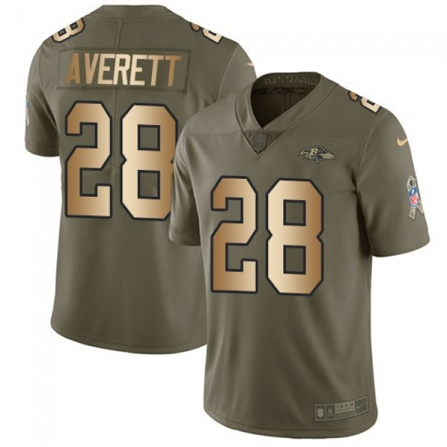 Nike Ravens #28 Anthony Averett Olive/Gold Men's Stitched NFL Limited 2017 Salute To Service Jersey