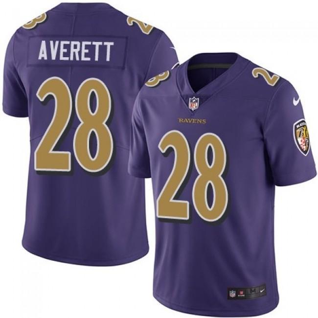 Nike Ravens #28 Anthony Averett Purple Men's Stitched NFL Limited Rush Jersey