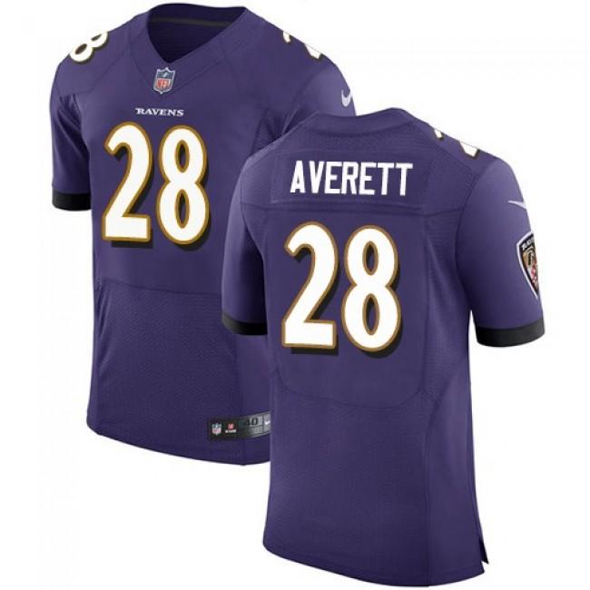 Nike Ravens #28 Anthony Averett Purple Team Color Men's Stitched NFL Vapor Untouchable Elite Jersey