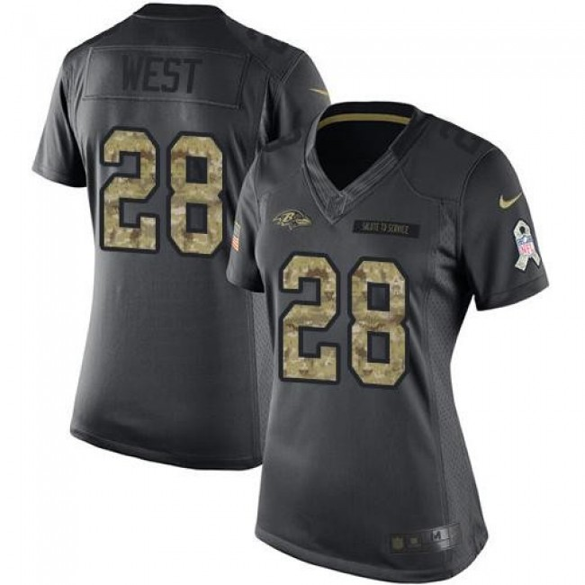 Women's Ravens #28 Terrance West Black Stitched NFL Limited 2016 Salute to Service Jersey