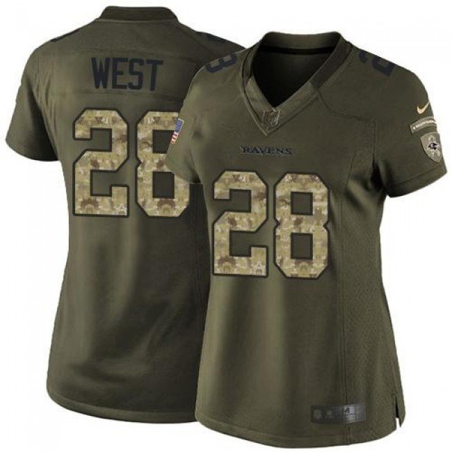 Women's Ravens #28 Terrance West Green Stitched NFL Limited Salute to Service Jersey