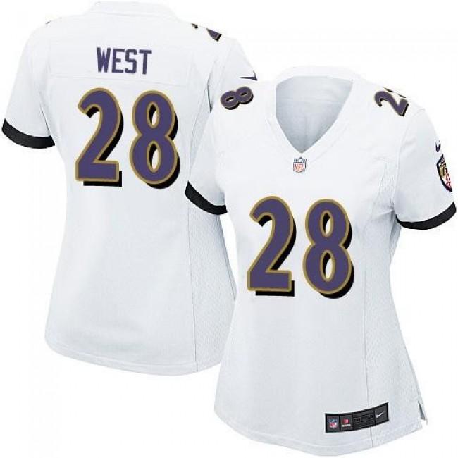 Women's Ravens #28 Terrance West White Stitched NFL New Elite Jersey