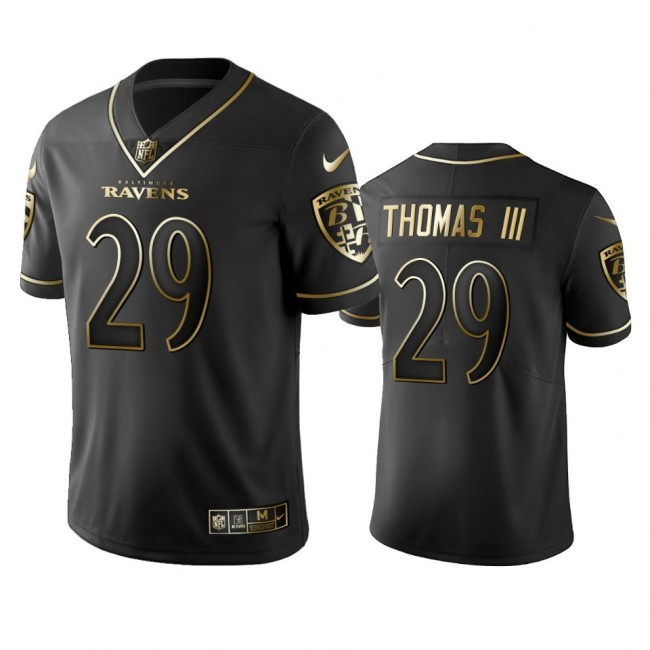 Nike Ravens #29 Earl Thomas III Black Golden Limited Edition Stitched NFL Jersey