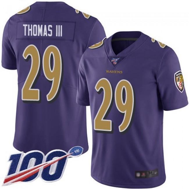 Nike Ravens #29 Earl Thomas III Purple Men's Stitched NFL Limited Rush 100th Season Jersey