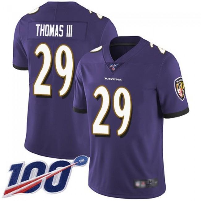 Nike Ravens #29 Earl Thomas III Purple Team Color Men's Stitched NFL 100th Season Vapor Limited Jersey