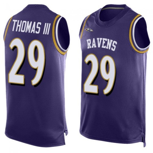 Nike Ravens #29 Earl Thomas III Purple Team Color Men's Stitched NFL Limited Tank Top Jersey