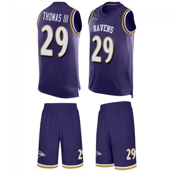 Nike Ravens #29 Earl Thomas III Purple Team Color Men's Stitched NFL Limited Tank Top Suit Jersey