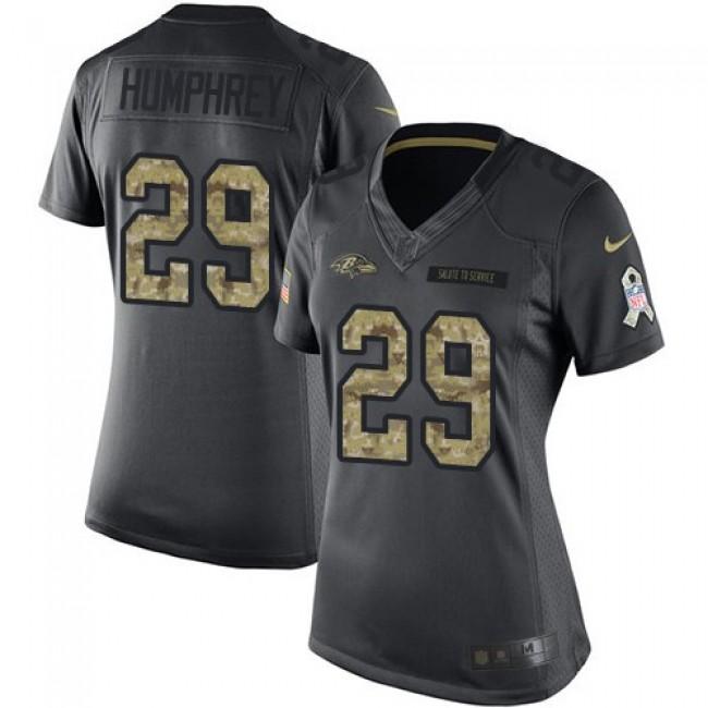 Women's Ravens #29 Marlon Humphrey Black Stitched NFL Limited 2016 Salute to Service Jersey