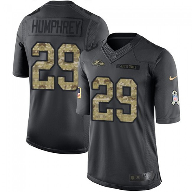Baltimore Ravens #29 Marlon Humphrey Black Youth Stitched NFL Limited 2016 Salute to Service Jersey