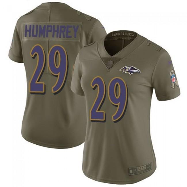 Women's Ravens #29 Marlon Humphrey Olive Stitched NFL Limited 2017 Salute to Service Jersey