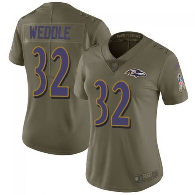 Women's Ravens #32 Eric Weddle Olive Stitched NFL Limited 2017 Salute to Service Jersey