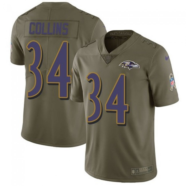 Baltimore Ravens #34 Alex Collins Olive Youth Stitched NFL Limited 2017 Salute to Service Jersey