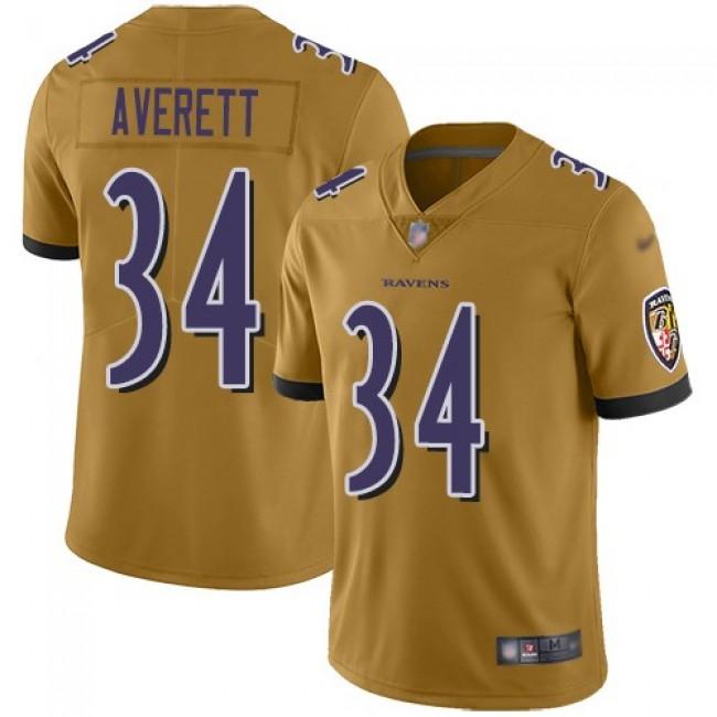 Nike Ravens #34 Anthony Averett Gold Men's Stitched NFL Limited Inverted Legend Jersey