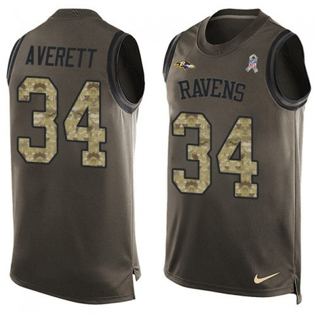 Nike Ravens #34 Anthony Averett Green Men's Stitched NFL Limited Salute To Service Tank Top Jersey