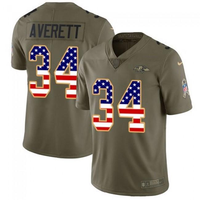 Nike Ravens #34 Anthony Averett Olive/USA Flag Men's Stitched NFL Limited 2017 Salute To Service Jersey