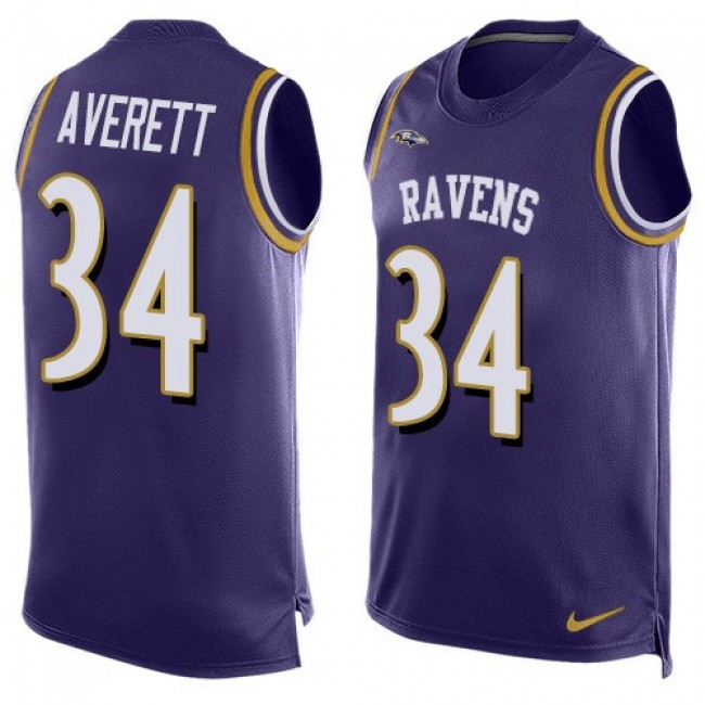 Nike Ravens #34 Anthony Averett Purple Team Color Men's Stitched NFL Limited Tank Top Jersey