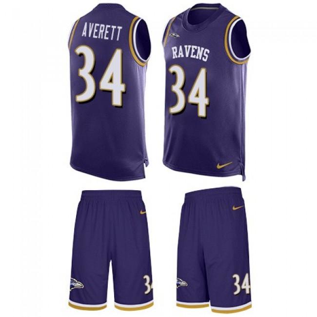 Nike Ravens #34 Anthony Averett Purple Team Color Men's Stitched NFL Limited Tank Top Suit Jersey