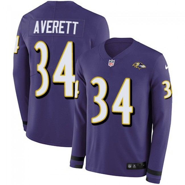 Nike Ravens #34 Anthony Averett Purple Team Color Men's Stitched NFL Limited Therma Long Sleeve Jersey