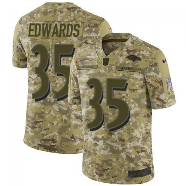 Nike Ravens #35 Gus Edwards Camo Men's Stitched NFL Limited 2018 Salute To Service Jersey