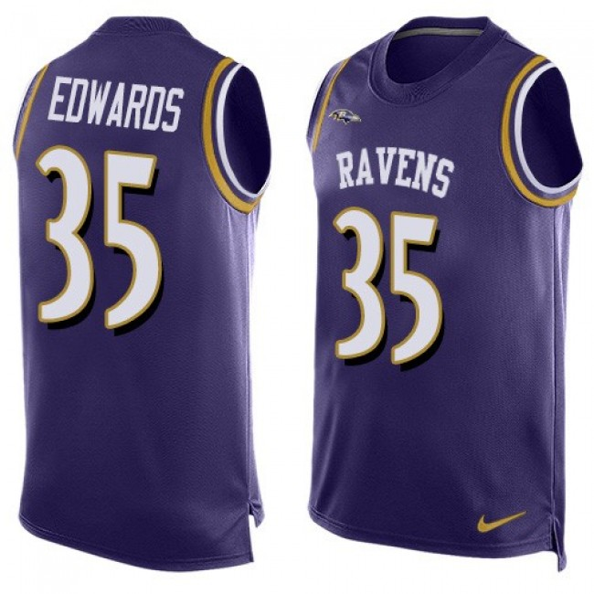 Nike Ravens #35 Gus Edwards Purple Team Color Men's Stitched NFL Limited Tank Top Jersey