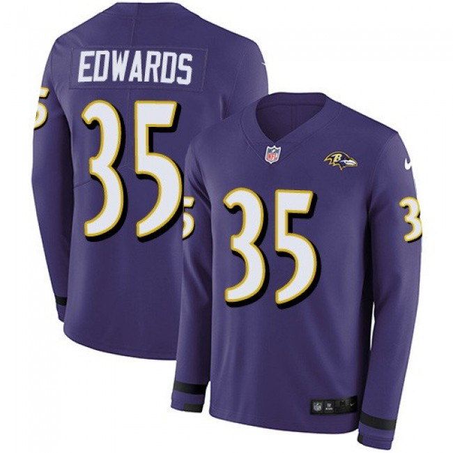 Nike Ravens #35 Gus Edwards Purple Team Color Men's Stitched NFL Limited Therma Long Sleeve Jersey