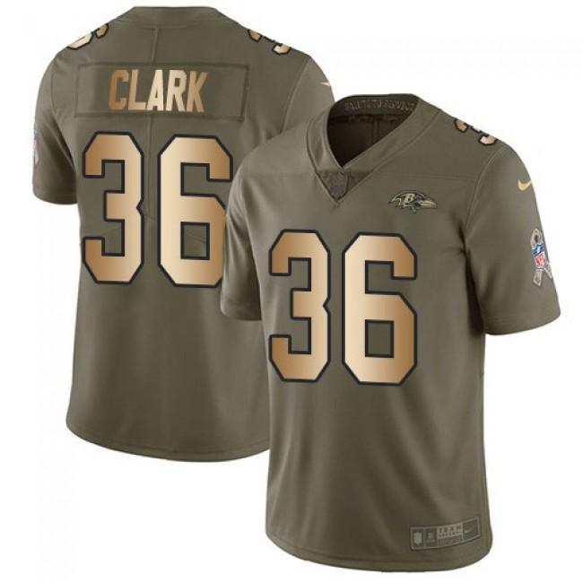 Nike Ravens #36 Chuck Clark Olive/Gold Men's Stitched NFL Limited 2017 Salute To Service Jersey