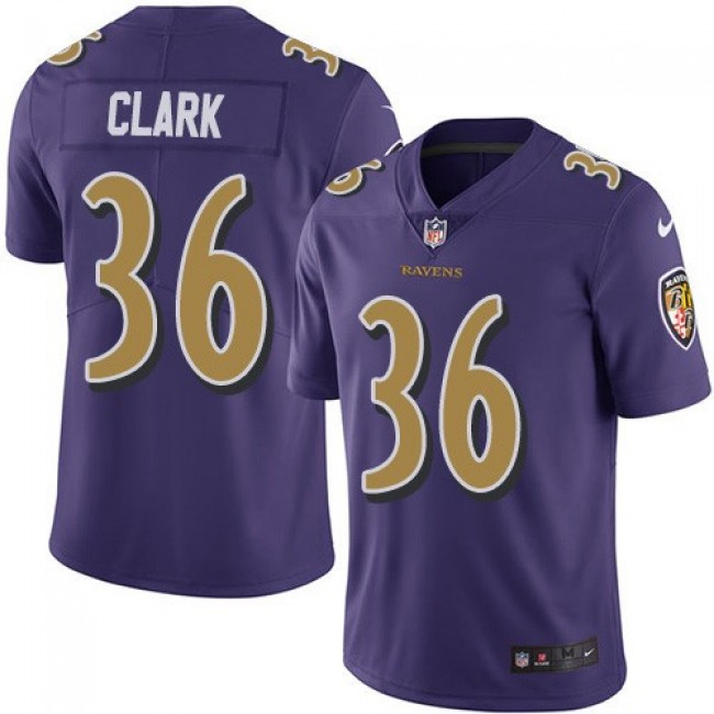 Nike Ravens #36 Chuck Clark Purple Men's Stitched NFL Limited Rush Jersey