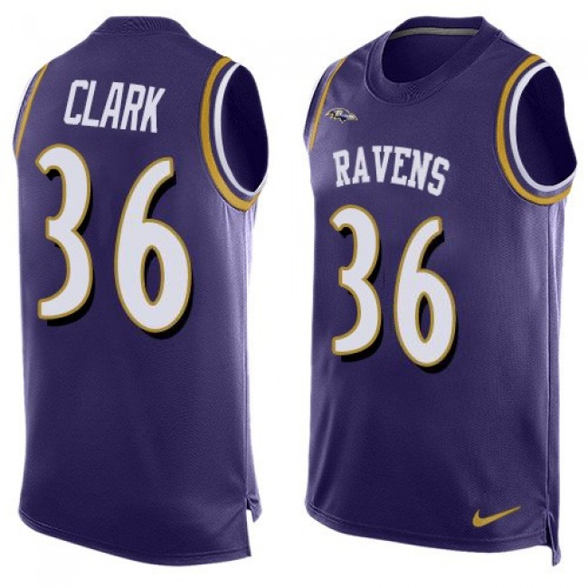 Nike Ravens #36 Chuck Clark Purple Team Color Men's Stitched NFL Limited Tank Top Jersey