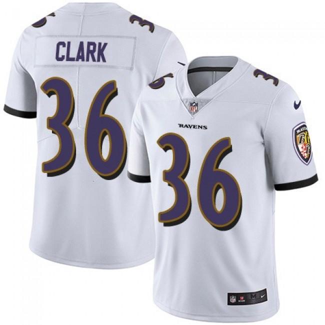 Nike Ravens #36 Chuck Clark White Men's Stitched NFL Vapor Untouchable Limited Jersey