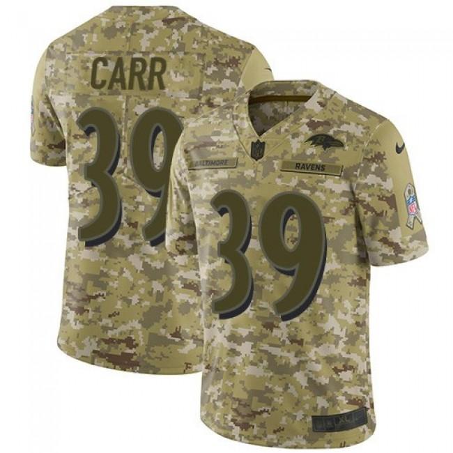 Nike Ravens #39 Brandon Carr Camo Men's Stitched NFL Limited 2018 Salute To Service Jersey