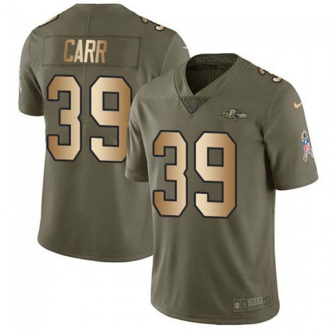 Nike Ravens #39 Brandon Carr Olive/Gold Men's Stitched NFL Limited 2017 Salute To Service Jersey