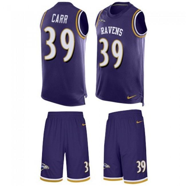 Nike Ravens #39 Brandon Carr Purple Team Color Men's Stitched NFL Limited Tank Top Suit Jersey