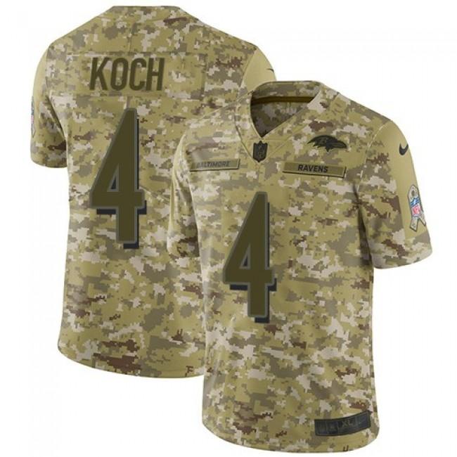 Nike Ravens #4 Sam Koch Camo Men's Stitched NFL Limited 2018 Salute To Service Jersey