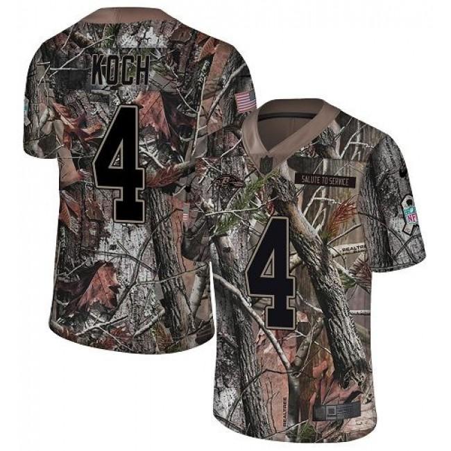 Nike Ravens #4 Sam Koch Camo Men's Stitched NFL Limited Rush Realtree Jersey