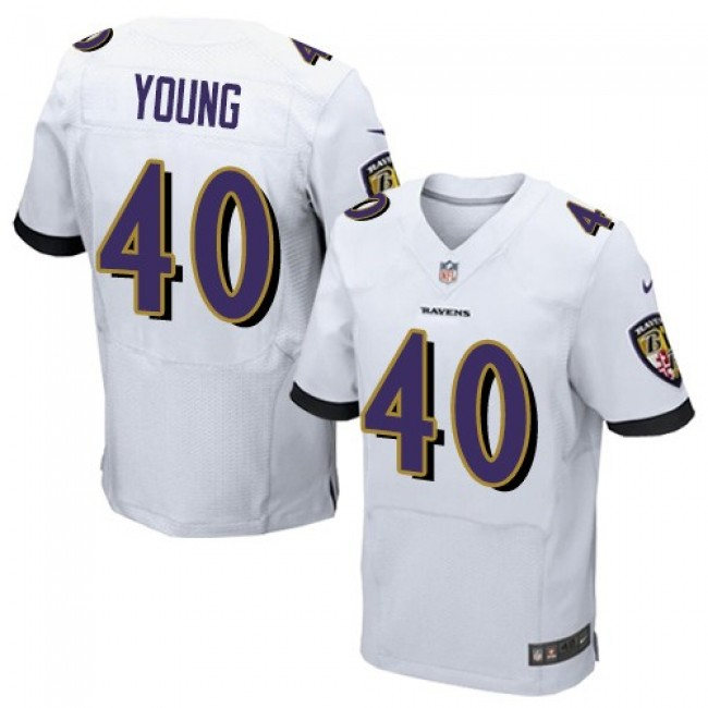 Nike Ravens #40 Kenny Young White Men's Stitched NFL New Elite Jersey