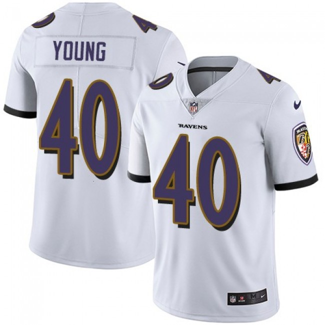Nike Ravens #40 Kenny Young White Men's Stitched NFL Vapor Untouchable Limited Jersey