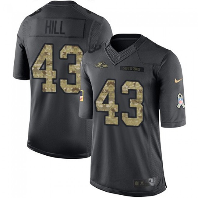 Nike Ravens #43 Justice Hill Black Men's Stitched NFL Limited 2016 Salute to Service Jersey