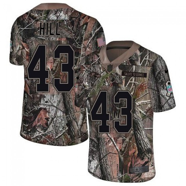 Nike Ravens #43 Justice Hill Camo Men's Stitched NFL Limited Rush Realtree Jersey